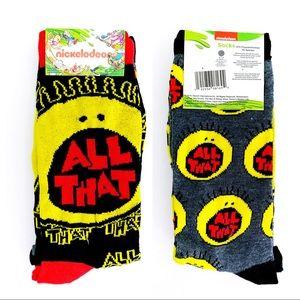 Nickelodeon All That Retro 90s Crew Socks TV